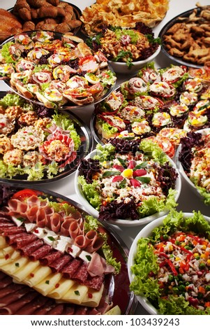 catering party food canape selection - stock photo