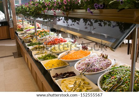 Catering salad buffet at a restaurant - stock photo