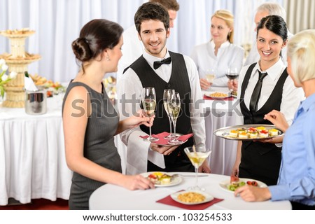 Catering service at business meeting offer food refreshments to woman - stock photo