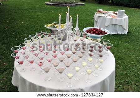 Catering, Wedding reception area - stock photo