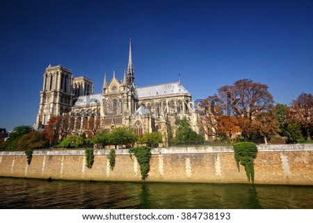 Cath?drale Notre Dame de Paris, view of southern facade from the river Seine - stock photo