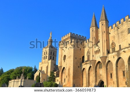 Cathedral and Papal Palace (Palais des Papes) in Avignon, Provence, France - stock photo