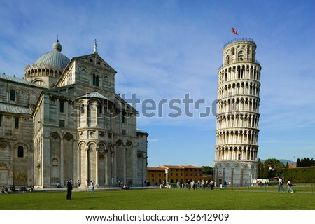 Cathedral and Tower of Pisa in Miracoli square - Italy - stock photo