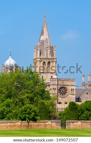 Cathedral at Christ Church and Tom Tower. Oxford, England - stock photo