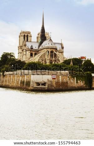 Cathedral at the riverside, Notre Dame de Paris, Seine River, Paris, France - stock photo