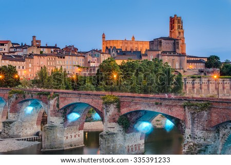Cathedral Basilica of Saint Cecilia, claimed to be the largest brick building in the world, itâ??s located in Albi, Tarn region, Midi Pyrenees, France - stock photo