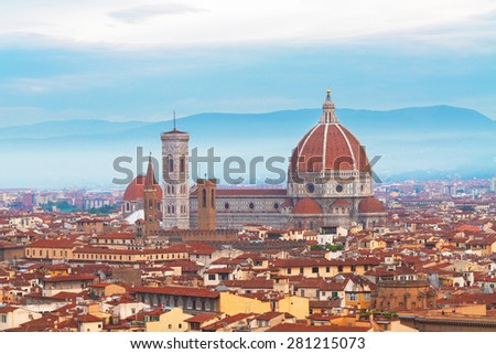 cathedral church Santa Maria del Fiore at sunrise, Florence, Italy - stock photo