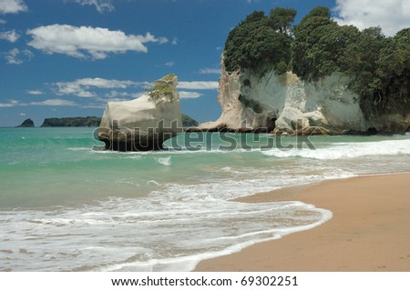 Cathedral Cove Beach - Hahei - New Zealand - stock photo