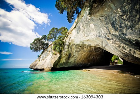 Cathedral Cove marine reserve on the Coromandel Peninsula in New Zealand   - stock photo