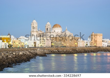 Cathedral in Cadiz at dusk, Spain - stock photo