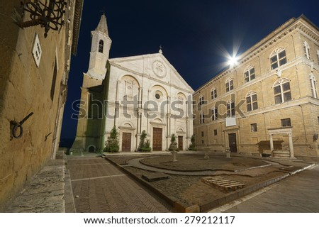 cathedral in Medieval Town Pienza, Tuscany, Italy.  - stock photo