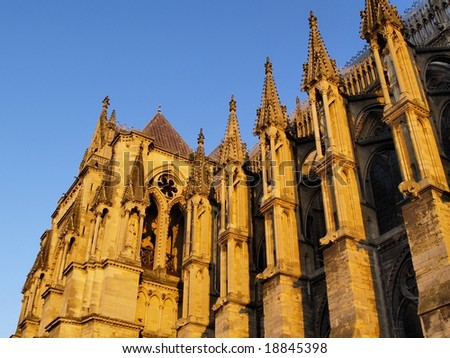Cathedral in Reims - detail - stock photo