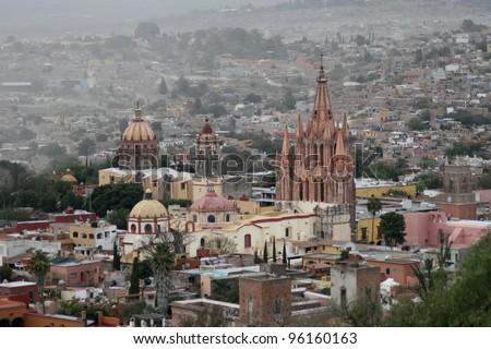 Cathedral in San Miguel de Allende, Mexico - stock photo