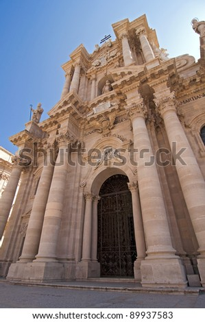 Cathedral in Siracusa Sicily Italy built by bishop Zosimo in the 7th century over the great Temple of Athena (5th BC), on the Ortygia island - stock photo