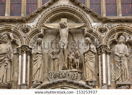 Cathedral in Trondheim Norway - architecture background - stock photo