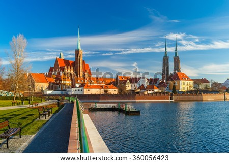 Cathedral Island in the morning, Wroclaw, Poland - stock photo