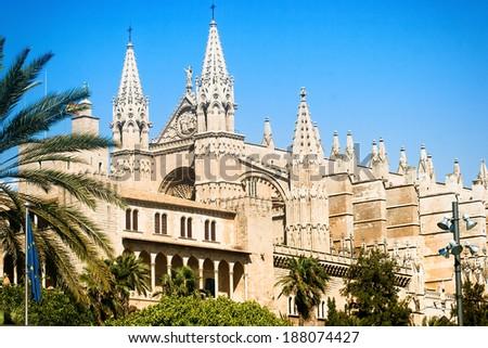 Cathedral La Seu in Palma de Mallorca, Majorca, Spain - stock photo