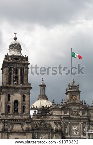 Cathedral Mexico City Zocalo - stock photo