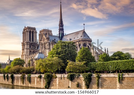 Cathedral Notre Dame in Paris  - stock photo