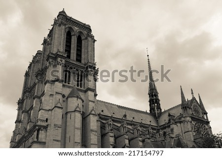 Cathedral Notre Dame in Paris France - stock photo