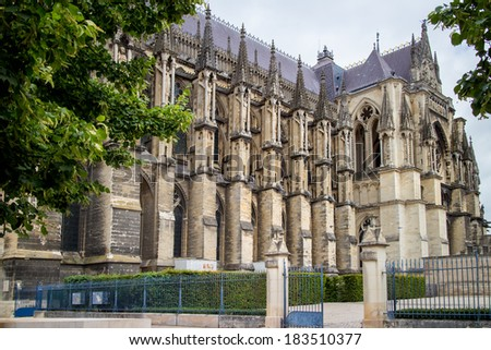 Cathedral Notre Dame in Reims, France - stock photo