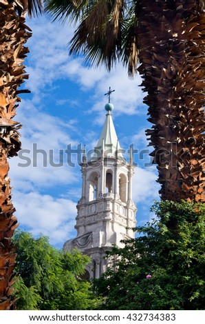 Cathedral of Arequipa in Peru - stock photo