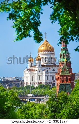 Cathedral of Christ the Savior distance view with Vodovzvodnaya Tower from Kremlin, Moscow, Russia - stock photo