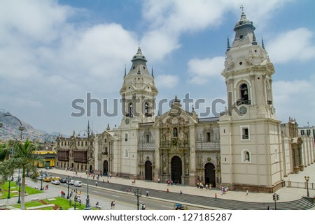 Cathedral of Lima in Peru - stock photo