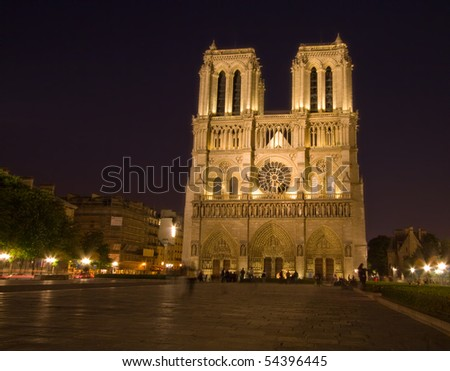 Cathedral of Notre-Dame at night - stock photo