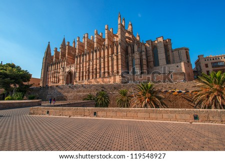 Cathedral of Palma de Majorca in soft late evening sun - stock photo