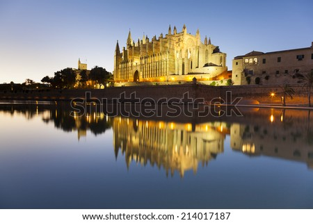 Cathedral of Palma de Mallorca at sunset, Balearic Island, Spain - stock photo