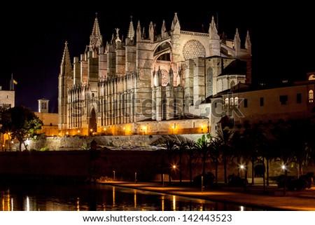 Cathedral of Palma de Mallorca La Seu night view - stock photo