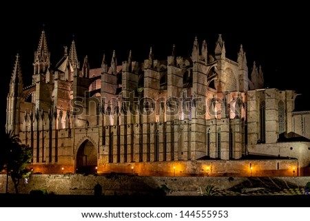 Cathedral of Palma de Mallorca La Seu night view - stock photo