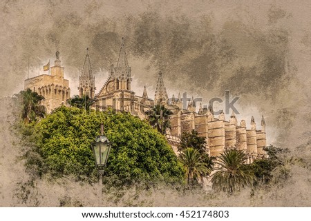 Cathedral of Palma de Mallorca viewed through lush greenery of the island. Big gothic church beside palm trees under the blue sky at sunset. Modern painting, background illustration. - stock photo