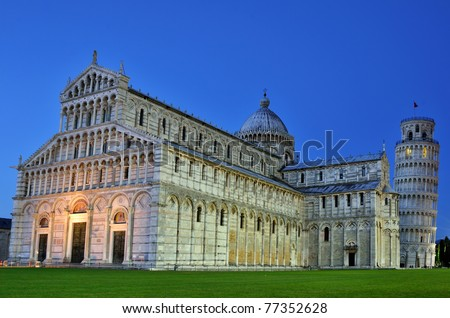 Cathedral of Pisa and Leaning Tower, Romanesque architecture in Tuscany - stock photo