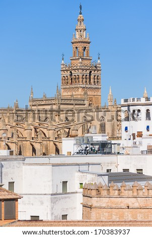 Cathedral of Saint Mary of the See in the historic district of Seville - stock photo