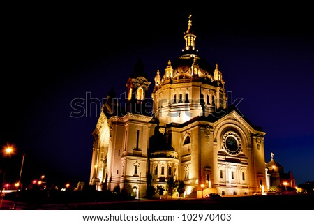 Cathedral of Saint Paul at Night - stock photo