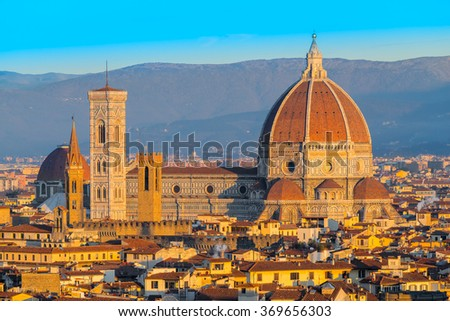 Cathedral of Santa Maria del Fiore at dusk, Florence, Italy - stock photo