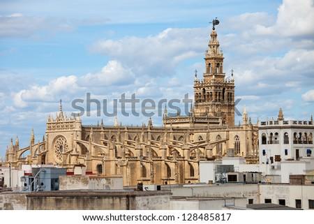 Cathedral of Seville (Spanish: Catedral de Santa Maria de la Sede) Gothic architecture in Seville, Andalusia, Spain. - stock photo