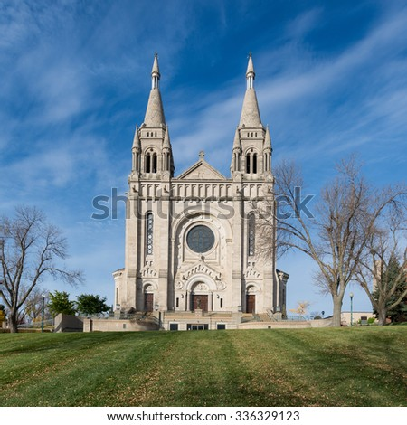 Cathedral of St. Joseph (1919) in Sioux Falls, South Dakota  - stock photo