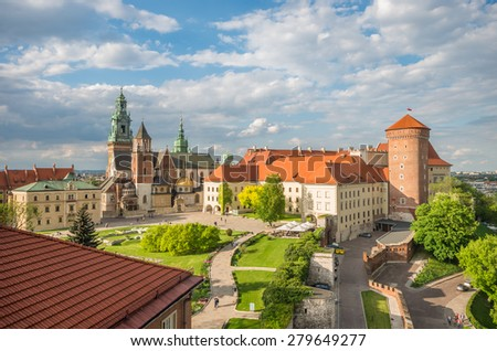 Cathedral of St Stanislaw and St Vaclav and royal castle on the Wawel Hill, Krakow, Poland. - stock photo