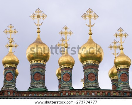 Cathedral of the Annunciation and the Archangel Cathedral in the Moscow Kremlin, Russia - stock photo