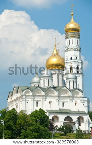 Cathedral of the Archangel and The Ivan the Great Bell Tower. Moscow Kremlin. Russia - stock photo