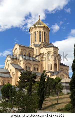 Cathedral of the Holy Trinity (Tsminda Sameba) - the main cathedral of the Georgian Orthodox Church. Tbilisi. Georgia - stock photo