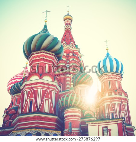 Cathedral on Red Square in Moscow. Instagram style filtred image - stock photo