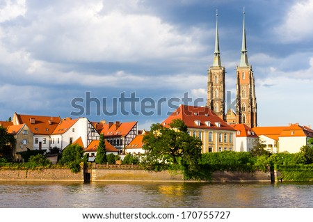 Cathedral on the Tumski island in Wroclaw, Poland - stock photo