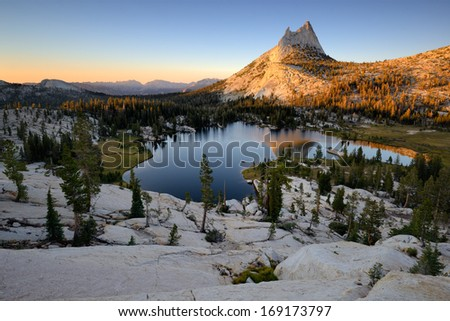 Cathedral Peak and Upper Cathedral Lake, Yosemite National Park, Sierra Nevada, California, USA - stock photo