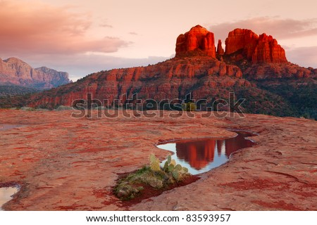 Cathedral Rock at sunset - stock photo