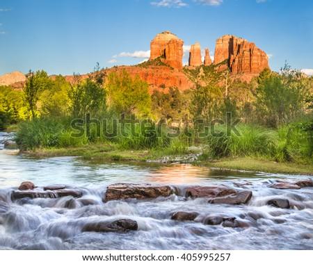 Cathedral Rock formation and Oak Creek in Sedona Arizona - stock photo
