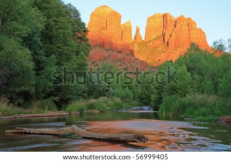 Cathedral Rock with reflection in Oak Creek - stock photo